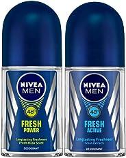 NIVEA MEN Deodorant Roll-on, Fresh Power, 50ml and NIVEA MEN Deodorant Roll-on, Fresh Active Original, 50ml