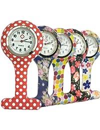 Reloj Silicona Reloj de Bolsillo de la Enfermera Doctor Paramédico Túnica Broche Fob Medical Watch, Paquete de 5