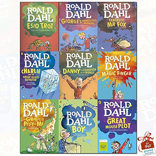 Dahl Fiction Roald Dahl Collection 9 Books Set With Gift Journal (The Giraffe the Pelly and Me, The Magic Finger, Charlie and the Great Glass Elevator, Fantastic Mr Fox, Esio Trot, Georges Marvellous Medicine, Danny The Champion of the World, Boy: Tales of Childhood , World Book Day 2016: The Great Mouse Plot)