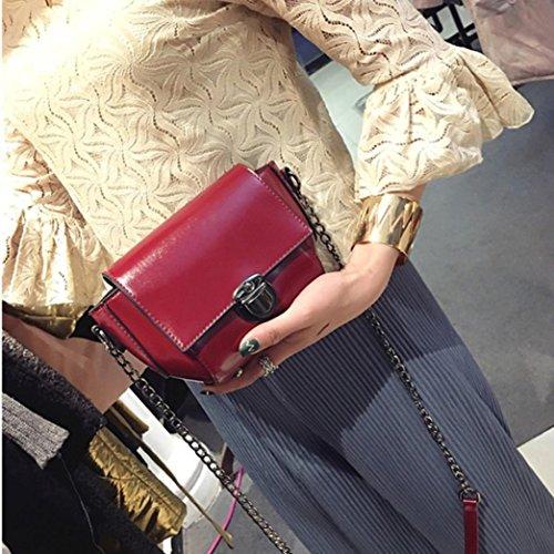 Moda Donna Artificiale In Pelle Spalla Borsa Catena Strap Messenger Borse Fibbia In Metallo di Kangrunmy Rosso
