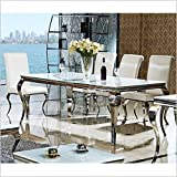 Esstisch 140, 160, 180 o. 200 x 90 x 76 cm Lara weiß Esszimmer designer luxus Tisch Büro Edelstahl Glas Barock Chrom Milchglas Schreibtisch (140 x 90 x 76, Weiß)