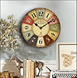 Wanduhr, rustikal, im Vintage-Stil, von Eruner, Stil: französisch, Paris, große Uhr, London, Land, tickt nicht, Holzuhr für Zuhause, Wohnzimmer, Schlafzimmer, Büro, Café, Bar, Dekoration, holz, #01, 12-in