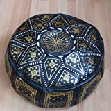 Marrakech Accessoires Orientalisches Sitzkissen Pouf Bodenkissen Hocker Leder Kissen XXL ø 70 cm schwarz