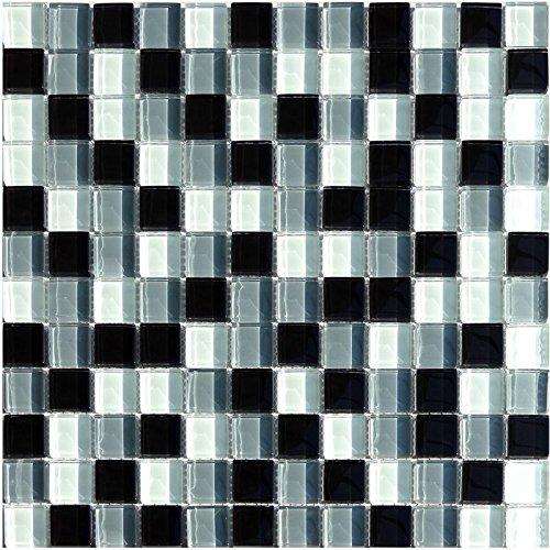 1 Netz Glasmosaik 23x23mm Schwarz Grau Weiss Mix