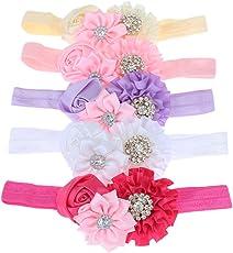 BESTVECH Baby Girl's Detachable Elastic Rhinestone Flower Headband Hair Accessory - 5 Pieces