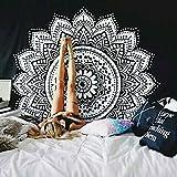 Handfly Schwarz und Weiß Yin Yang Tapisserie Wandteppich Hippie Tapisserie indisch Picknick Bohemian Wandtuch Strandtuch Tagesdecke Boho Deko (153x130cm)