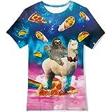 RAISEVERN Divertente Unisex Kids 3D Stampato T-Shirt Casual Tops Tees Cool Manica Corta per Teenager Ragazzi Ragazze 6-16T