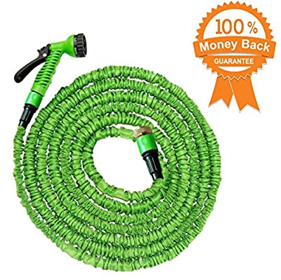 100 Ft Expandable Garden Hose Pipe | Natural Latex Triple Layer Expandable Hose Pipe | 7 Setting Sprayer | Expanding Hose | Magic Hose Expands up to 30 metres / 100 ft