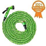 50 pieds Tuyau flexible de jardin extensible de 15 mètres   Triple couche de latex naturel, flexible, extensible   7 Réglages de pulvérisation   Tuyau expansible   déroulable jusqu'à 15 mètres