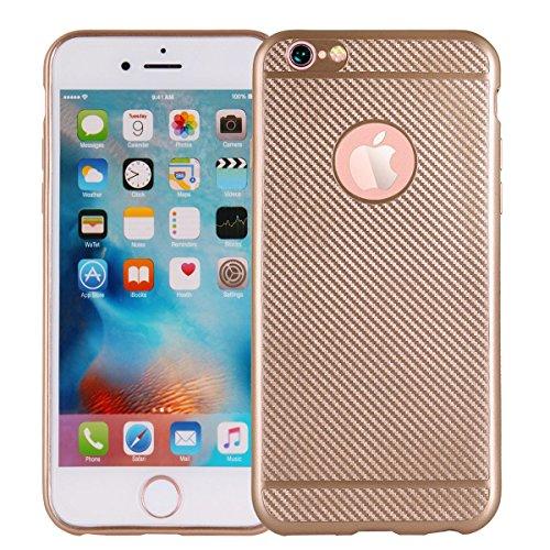 """MOONCASE iPhone 6/iPhone 6s Coque, Fibre de Carbone Flexible Armure Defender Housse Cover Slim Anti-éraflure Antichoc Protection Cases pour iPhone 6/iPhone 6s 4.7"""" Noir D'or"""