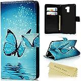 """Huawei Honor 7 Coque Mavis's Diary Étui de Protection Housse en Cuir 5.2"""" Phone Case Cover Étui à Rabat Support Portefeuille Fente de Carte Fermeture Magnétique Papillon Dessin + Chiffon"""