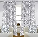 Home Décor Deals By Linenwalas Thick Cotton Decorative Damask Print Door Curtain 2 Piece With 2 Piece Matching Cushion Cover (Set of 4) - White & Grey - Damask Print - 7ft