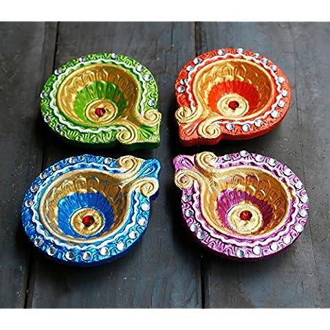 Store Indya, Colorato a mano di terra argilla / terracotta Diyas decorativo / Lampade di olio con strass / gioiello per Pooja / Diwali / Puja Set di 4 - Progettazione Gioielli D'oro
