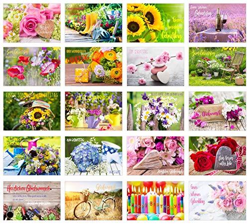 Edition Seidel Set exklusive Premium Geburtstagskarten mit Umschlag. Glückwunschkarte Grusskarte zum Geburtstag. Geburtstagskarte Mann Frau Karten Billet Happy Birthday Sprüche