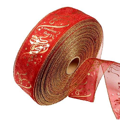 Demarkt Deko Band Spitze Band Geschenkband buntes Band für Weihnachten oder andere Festival rot 200x6.3cm