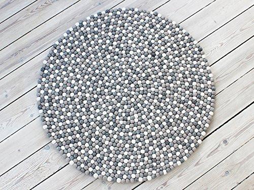 Filzkugelteppich Light Grey Nepaldo - Super Qualität zu tollen Preisen (90cm Ø)