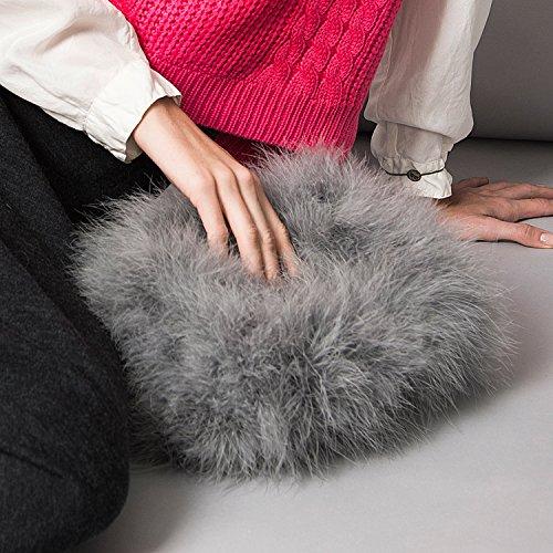 Womens Zarapack plume imitation fourrure Peluche embrayage sac à bandoulière - gris