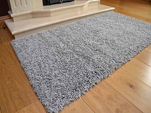 Shaggy Thick Modern Luxurious Silver Grey Rug High Pile Long Pile Soft Pile Anti Shedding Available in 9 Sizes (80cm x 150cm 2ft 7 x 4ft 11) by SuperRugStore