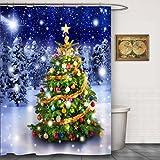 CHATAE Dusche CURATIN Weihnachten Dusche Vorhänge weiß Sonw Baum Badezimmer Duschvorhang Weihnachtsbaum mit Dusche Vorhang Haken (177,8cm W x 177,8cm multi24)