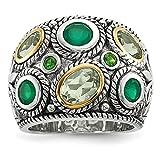 JewelryWeb  -  925 Sterling-Silber  Sterling-Silber 925 Rundschliff   grün Quartz Péridot