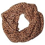 MANUMAR Loop-Schal für Damen | Hals-Tuch in Hell-Braun mit Animal Print Motiv als perfektes Herbst Winter Accessoire | Schlauchschal | Damen-Schal | Rundschal | Geschenkidee für Frauen und Mädchen