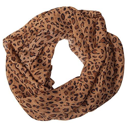 MANUMAR Loop-Schal für Damen   Hals-Tuch in Hell-Braun mit Leo Print Motiv als perfektes Herbst Winter Accessoire   Schlauchschal   Damen-Schal   Rundschal   Geschenkidee für Frauen und Mädchen