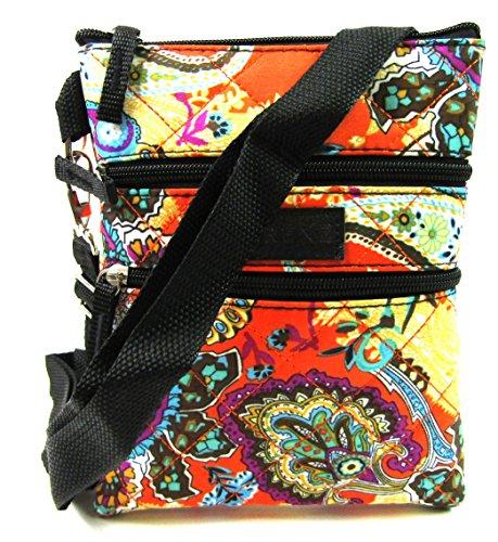 Unbekannt Damen leicht Kreuz Körper Handtasche gesteppt bag Tablet Schutzhülle Halter Beutel - Paisley Rot (Paisley Handbag Handtasche)