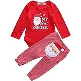Mi Primera Navidad 2 Piezas Traje para Bebé Recién Nacido Conjunto de Mameluco de Manga Larga y Pantalones Ropa Pelele Pijama
