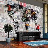murando - Fototapete 250x175 cm - Vlies Tapete - Moderne Wanddeko - Design Tapete - Wandtapete - Wand Dekoration - Weltkarte Banksy Abstrakt Continente Welt Graffiti k-C-0055-a-b