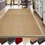 casa pura® Sisal Teppich aus Naturfasern | natur | mit Bordüre aus Baumwolle | pflegeleicht | Größe wählbar (70x130 cm)