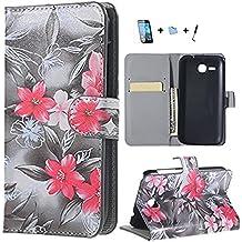 Para Huawei Ascend Y600 -GeniusMALL [Magnetic Closure] Flip Protection Billetera Tapa Carcasa Funda Shell Case Cover Para Huawei Ascend Y600+Stylus +Protector de la pantalla + paño limpieza,2