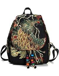 1b7789fb437c5 Retro Frauen Rucksäcke Ethno Style Stickerei Feminine Peacock Schultasche  Eigenschaften Perlen Canvas…