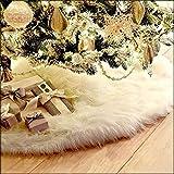 CHBOP 78CM Weihnachtsdecke Weihnachtsbaumdecke Unterlegdecke Baumdecke Christbaumständer Weihnachtsbaum Dekorationen Plüsch Weihnachtsschmuck Deko für Weihnachten weiß