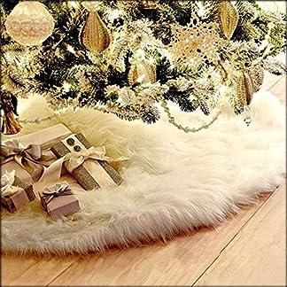 CHBOP 78CM Árbol de Navidad Falda de Vacaciones Blanco Puro Felpa de Piel sintética Adornos para el árbol de Navidad decoración del árbol de Vacaciones para Vacaciones decoración de Navidad