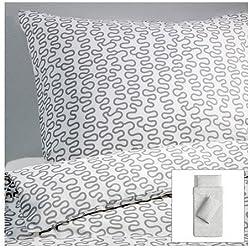 Ikea - Ropa de cama fija krakris 155x220 blanco / gris