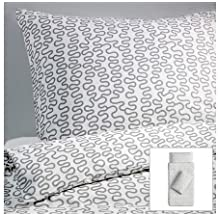Ikea - Ropa de cama fija krakris 140x200 blanco / gris