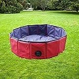 YAOBLUESEA Hundepool Doggy Pool Faltbarer Hunde Pool in PVC Φ 160 x 30 cm Rot
