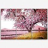 ge Bildet hochwertiges Leinwandbild XXL Naturbilder Landschaftsbilder - Frühlingsbaum - Natur Baum Rosa Pink - 120 x 80 cm mehrteilig ( 3 teilig )| Wanddeko Wandbild Wandbilder Wohnzimmer deko Bild | 2213 A