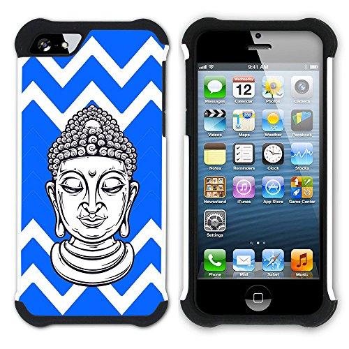 Graphic4You Buddha-Kopf Winkel Muster (Wasserblau) Hart + Weiche Kratzfeste Hülle Case Schale Tasche Schutzhülle für Apple iPhone SE / 5 / 5S Königsblau