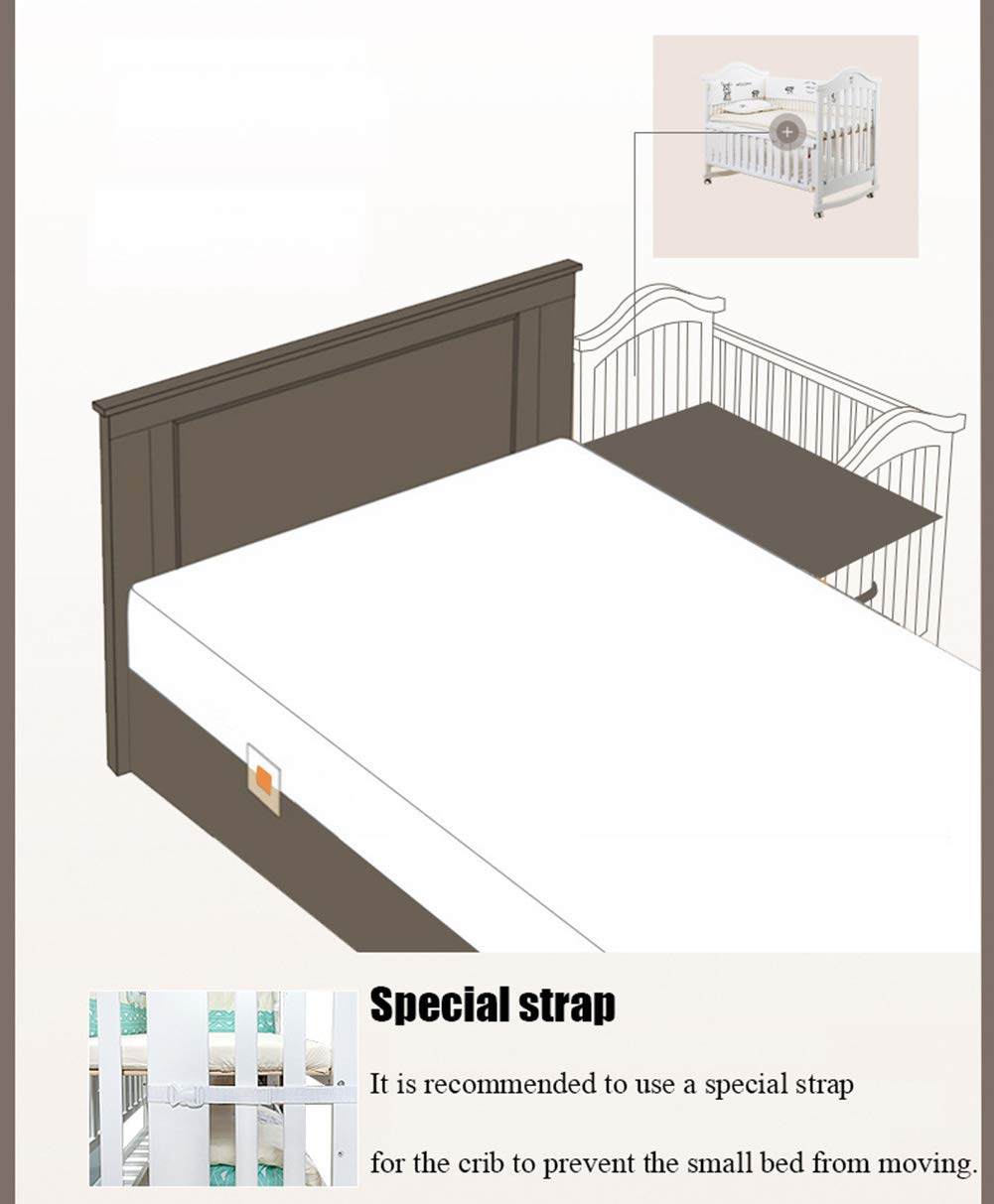 XUNMAIFLB Removable Toddler Bed, Wooden Baby Cot Bed, Crib, Solid Wood Splicing Bed, Cradle Bed (outer Diameter: 126.5 * 73.5 * 104cm/inner Diameter: 120 * 65cm) Safety XUNMAIFLB 6-12 months: The bed of the growing bed is adjusted to a safe depth of 2 blocks to protect the baby during the crawling period. 0-6 months newborn bed: 55.5cm scientific height, no need to deep bend, reduce spinal strain. More than 18 months: the sofa chair/teen bed sidebar removes the half-guard bed and cultivates the baby's ability to fall asleep independently. Can also be used as a sofa chair! 5