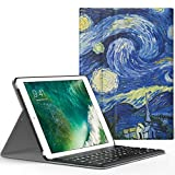 MoKo Funda para New iPad 9.7 pulgada 2017 - Wireless Bluetooth Keyboard Case con PU Cuero Teclado Inalánbrico QWERTY Layout Para Apple All-New iPad 9.7 Pulgadas 2017 Tableta, Noche Estrellada