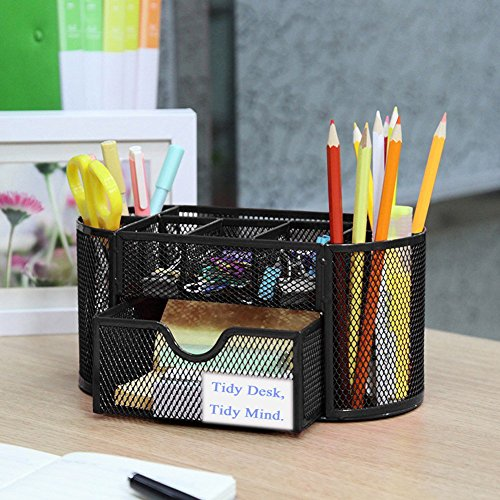 Vonimus Schreibtisch Tidy, Tisch-Organizer / Mesh Spezifische Caddy Schreibtisch Organizer Set Büro Tidy Organizer Metall Bleistift Topf Bleistift Halter (schwarz) - 2