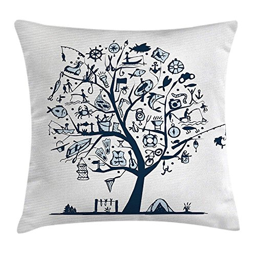 RAINNY Fishing Decor Throw Pillow Cushion Cover by, Cute Tree of Life with Marine Objects Anchor Wind Rose Compass Reel Nature, Decorative Square Accent Pillow Case, 18 X 18 Inches, Light Blue (Christmas Reel Light)