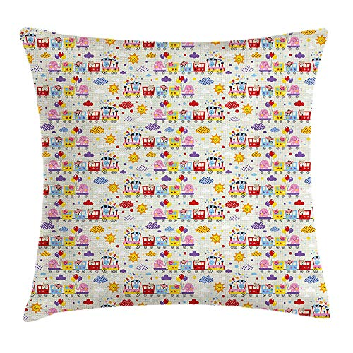 Train Throw Pillow Cushion Cover, School Notebook Pattern Background with Cute Animals Traveling The World Fun Journey, Decorative Square Accent Pillow Case, 18 X 18 inches, Multicolor