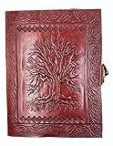 Kooly Zen - Carnet, bloc notes, journal, livre, cuir véritable, vintage, fermoir métal, arbre de Vie Celte, 13cm X 17cm, papier premium