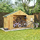 3x8 Overlap Wooden Apex Bike Log Storage Double Door Roof Felt Store Shed 3ft x 8ft
