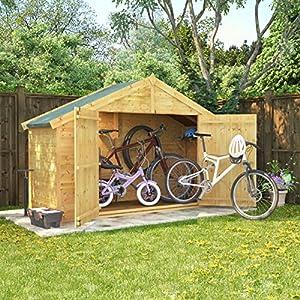 61D2jdyiKzL. SS300  - 3x8 Overlap Wooden Apex Bike Log Storage Double Door Roof Felt Store Shed 3ft x 8ft