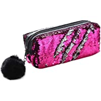 Climberty Fashion Sequin Hairball Pencil Case School Supplies BTS Stationery Gift Cute Pencil Box Pencilcase School Tools Pencil Cases (Style 1)