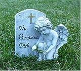 Kleiner Engel am Stein Grabschmuck Grabdeko *Wir vermissen dich* grau antik, H 11 cm