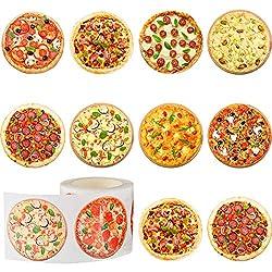 400 Stücke Pizza Rolle Aufkleber Runde Pizza Aufkleber Pizza Scratch Aufkleber Selbstklebende Runde Label für Kid Learning Party Home Wanddekoration, 9 Stile, 1,5 Zoll